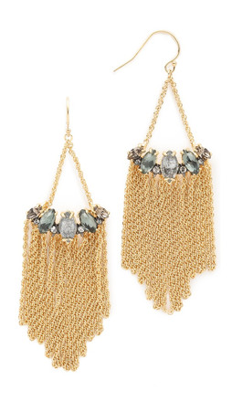 Alexis Bittar Fringed Marquis Earrings - Silver/Gold