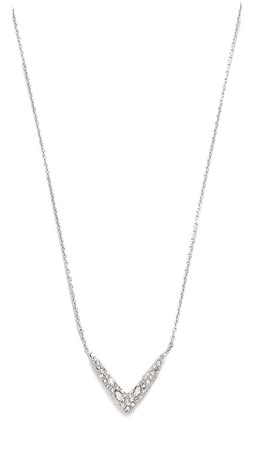 Alexis Bittar Petite Encrusted V Necklace - Clear/Silver