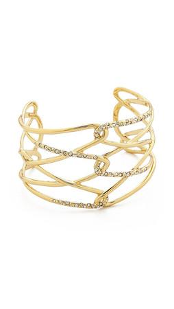 Alexis Bittar Scattered Pave Crystal Barbed Cuff Bracelet - Gold