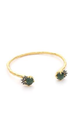 Alexis Bittar Skinny Crystal Cuff Bracelet - Gold/Green
