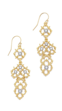 Alexis Bittar Woven Crystal Studded Drop Earrings - Gold