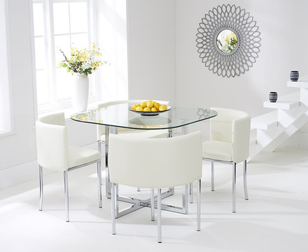 Algarve Glass Stowaway Dining Table with Cream High Back Stools