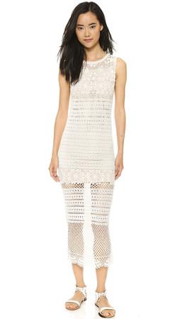 Alice + Olivia Amari Crochet Maxi Dress - Cream/Nude