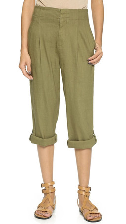Alice + Olivia High Waisted Roll Cuff Pants - Army
