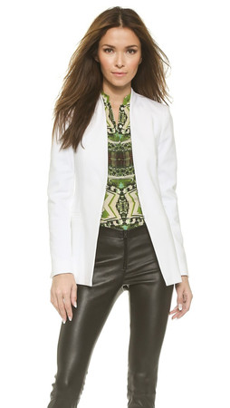 Alice + Olivia Long Open Front Collarless Blazer - White