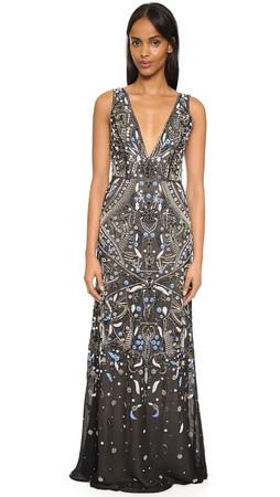 Alice + Olivia Marnee Embellished Gown - Black/Blue Multi
