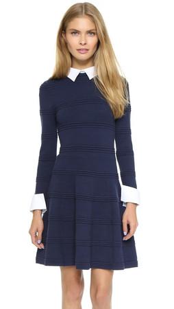 Alice + Olivia Textured Collared Dress - Navy