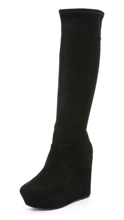 Alice + Olivia Yula Suede Wedge Tall Boots - Black