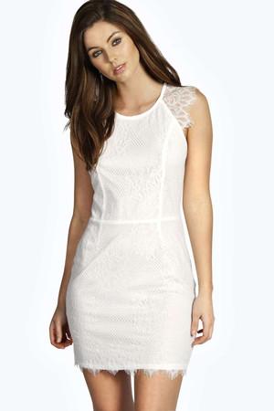 All Over Eyelash Lace Bodycon Dress ivory