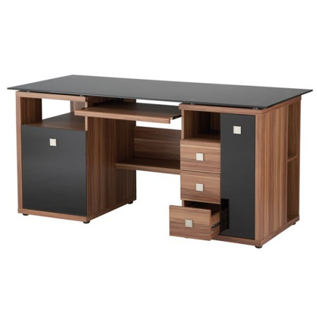 Alphason Designs Saratoga Glass Top Desk in Walnut and Black