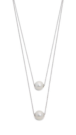 Amber Sceats Imitation Pearl Duo Necklace - Silver/Pearl
