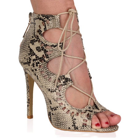 Anais Beige Snake Cut Out Lace Up Heel