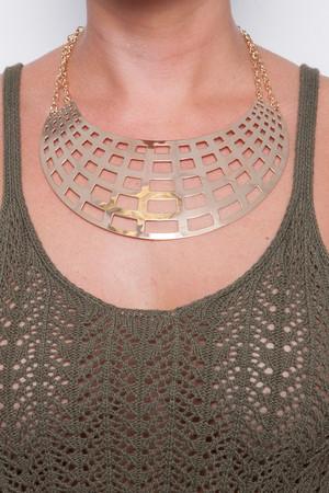 Ange Gold Square Cut Plaque Necklace