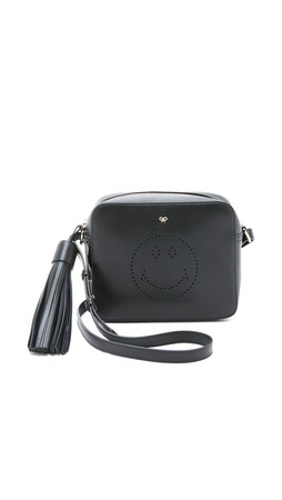 Anya Hindmarch Smiley Cross Body Bag - Black