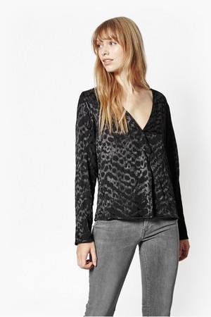 Aria Jacquard Wrap Blouse - Black