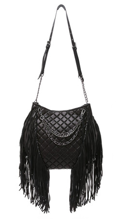 Ash Bijou Quilted Hobo Bag - Black