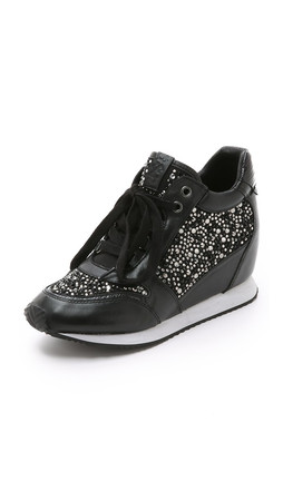 Ash Rhinestone Wedge Sneakers - Black