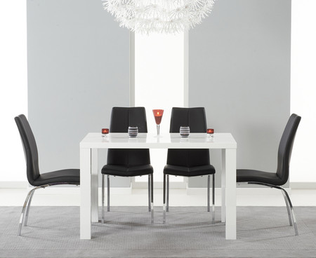 Atlanta 120cm White High Gloss Dining Table with Cavello Black Chairs