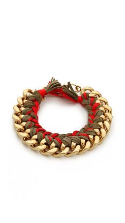 Aurelie Bidermann Do Brasil Bracelet - Khaki/Red