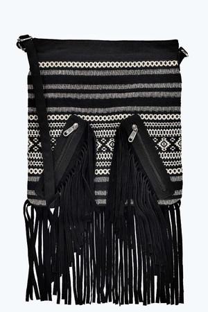 Aztec Fringed Cross Body Bag multi