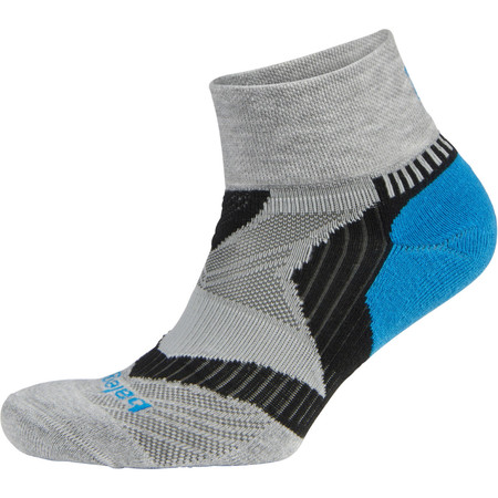Balega Enduro Quarter Socks - Large Grey/Turquoise/Black