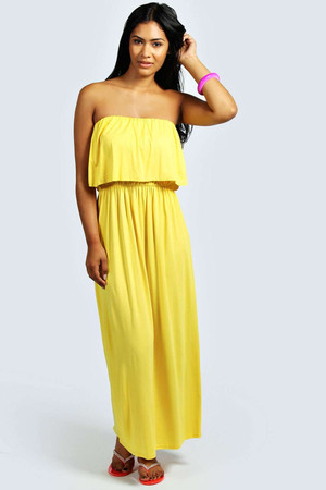 Bandeau Frill Top Maxi Dress yellow