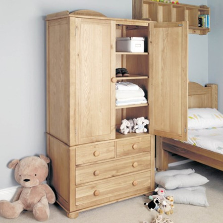 Baumhaus Amelie Oak Childrens Double Wardrobe