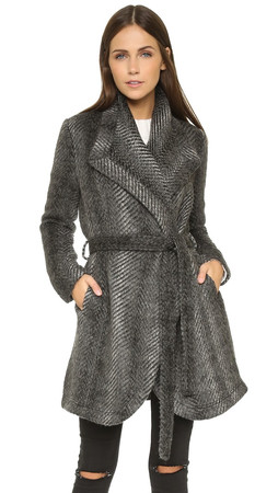 Bb Dakota Jack By Bb Dakota Abra Patterned Coat - Black
