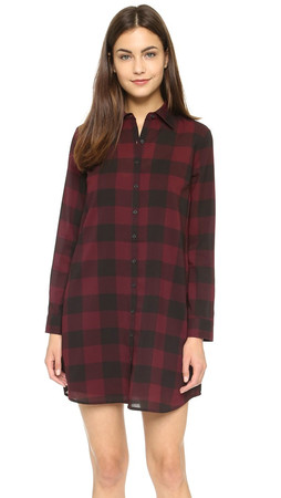 Bb Dakota Cotter Buffalo Plaid Dress - Wine