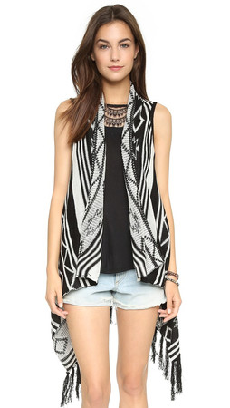 Bb Dakota Jack By Bb Dakota Damen Fringe Vest - Black