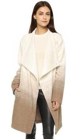 Bb Dakota Emerson Ombre Fuzzy Wool Coat - Churro