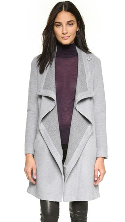 Bb Dakota Grady Drape Front Coat - Dove Grey