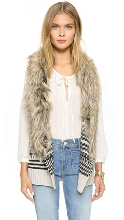 Bb Dakota Jase Sweater Vest With Faux Fur - Ivory