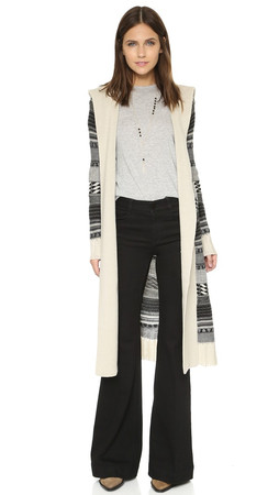 Bb Dakota Kaiden Hooded Pattern Cardigan - Oatmeal