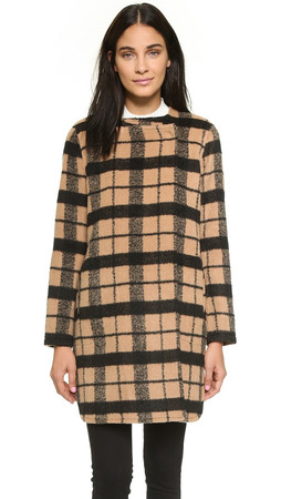 Bb Dakota Kellen Collarless Wool Plaid Coat - Camel