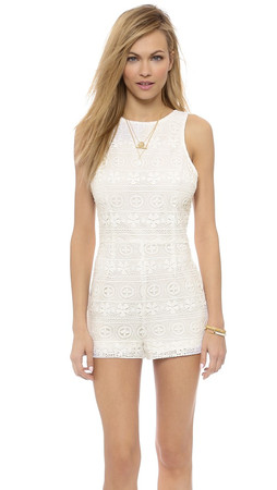 Bb Dakota Leola Lace Racer Back Romper - Ivory
