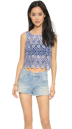 Bb Dakota Lily Lace Crop Tank - Blue