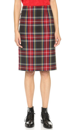 Bb Dakota Lyla Tartan Plaid Pencil Skirt - Chilli