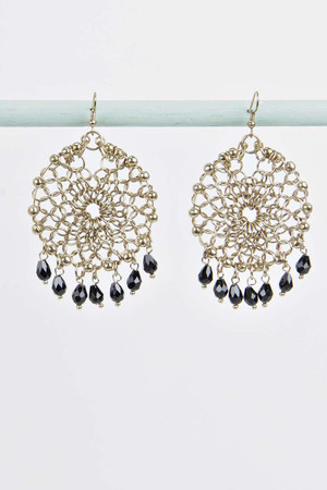 Bead Detail Round Earrings gold