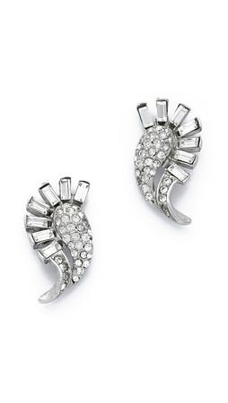 Ben-Amun Baguette Fringe Earrings - Clear