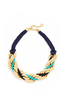 Ben-Amun Braided Necklace - Gold/Blue
