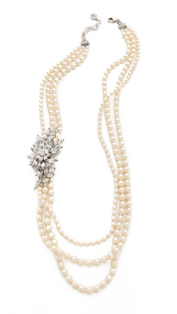 Ben-Amun Crystal Flower Imitation Pearl Necklace - Pearl/Clear