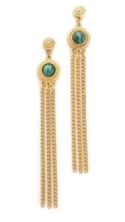 Ben-Amun Drop Strand Earrings - Gold/Green