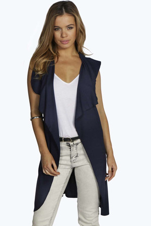 Betsy Waterfall Sleeveless Trench navy