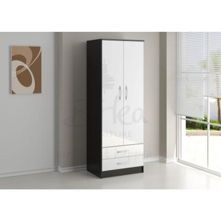 Birlea Furniture Lynx & 2 Door Combi Wardrobe in black/white