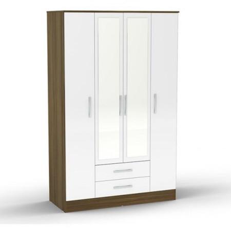 Birlea Furniture Lynx & 4 Door 2 Drawer Wardrobe With Mirror in walnut/white