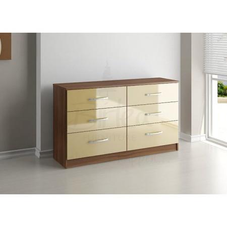 Birlea Furniture Lynx & 6 Drawer Chest in walnut/cream
