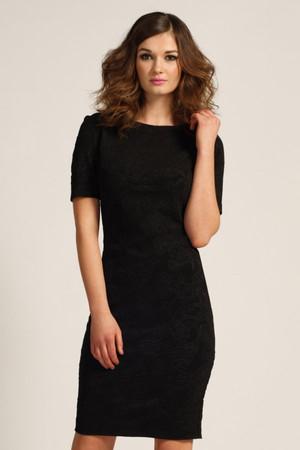 Black 3/4 Sleeve Floral Textured Bodycon Dress