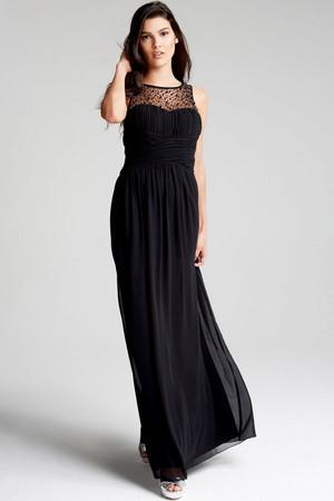 Black Embellished Neck Maxi Dress
