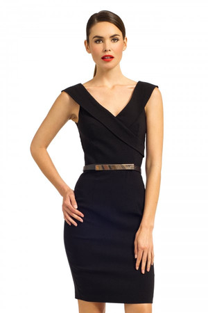 Black Folded Bustier Detail Belted Bodycon Dress